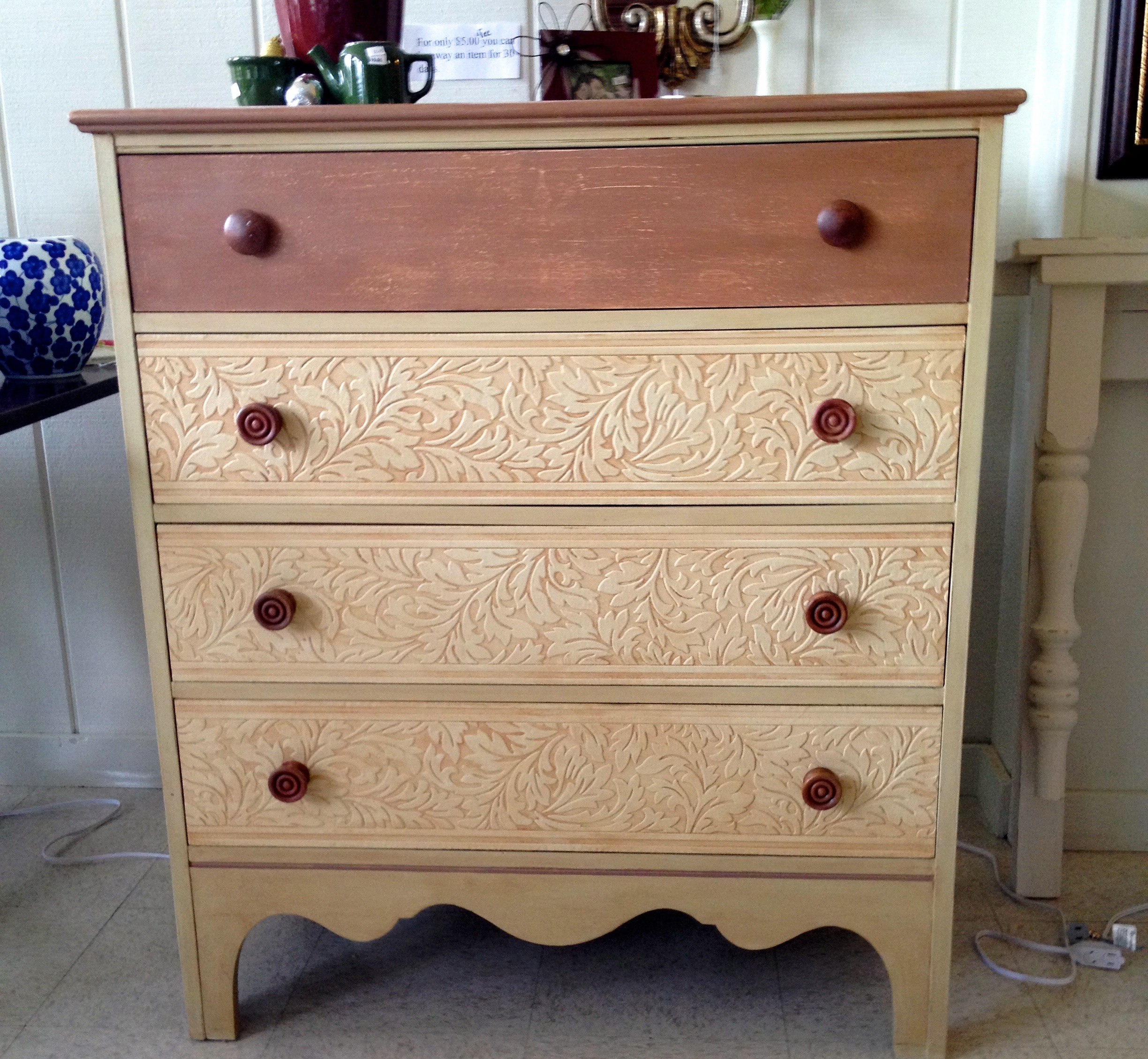 Wallpaper Drawers, Beige, Brick Rust, Painted Dresser, Jackson MI