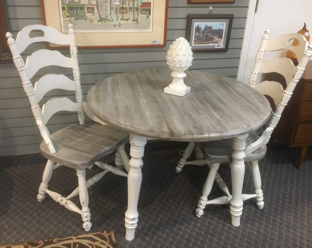 Driftwood Table White Distressed Chairs