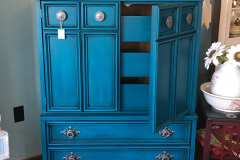 Peacock Painted Dresser Chiffonier