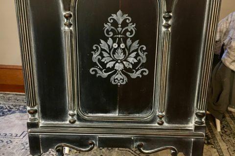 Antique Radio Cabinet Black with White Glaze