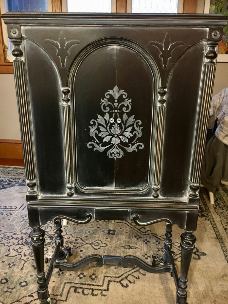 Antique Radio Cabinet Black with White Glaze