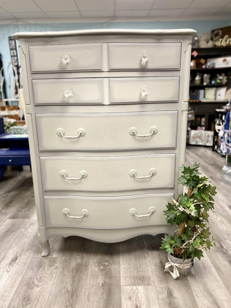 painted Greige 5 drawer dresser