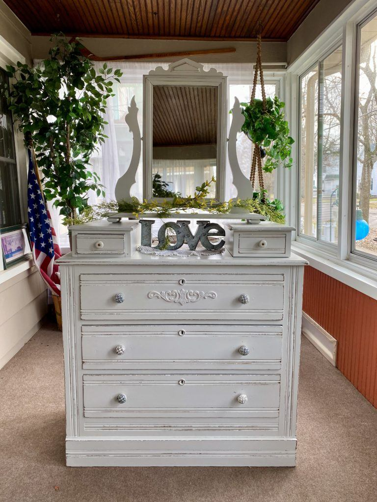 Glove Box Dresser White Distressed