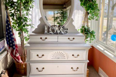 painted dresser glovebox drawers mirror