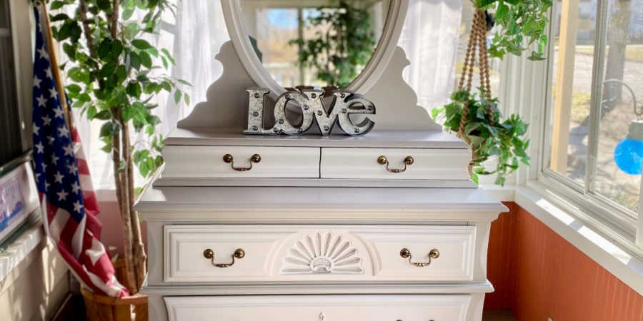 painted dresser glovebox drawers mirror