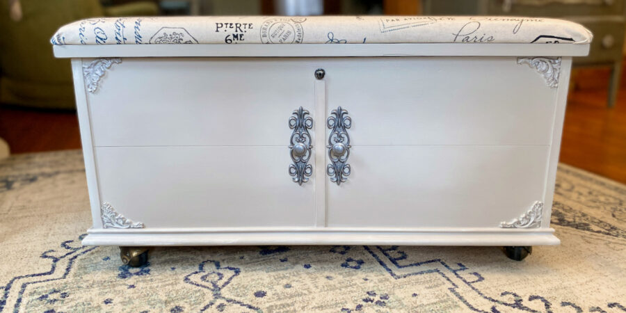 cedar chest painted beige paper clay