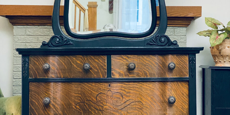 Mirror Antique Dresser Black Tiger Oak