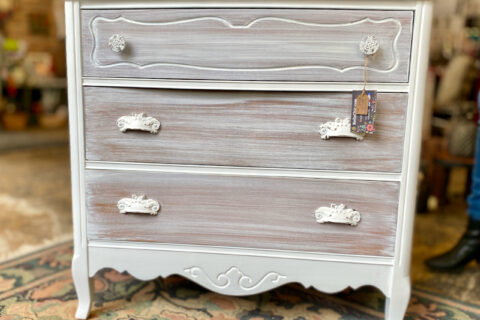 Natural wood white washed chest dresser